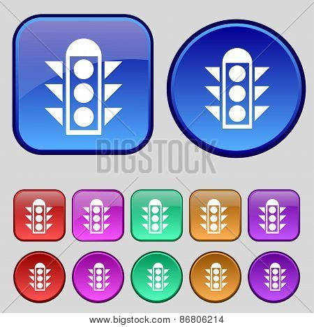 Traffic Light Signal Icon Sign. A Set Of Twelve Vintage Buttons For Your Design. Vector