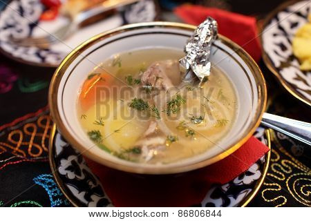 Plate With Shurpa Soup