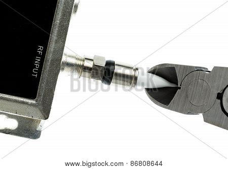 Concept Isolated Photo Of Cutting Cable Cord