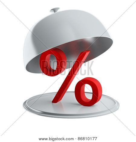 Red Percent Sign On Silver Platter (isolated)