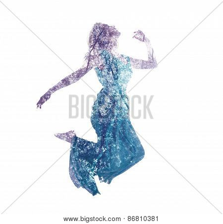 Double Exposure Of Woman Jumping With Leaves