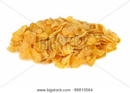 Pile Of Corn Flakes On A White Background