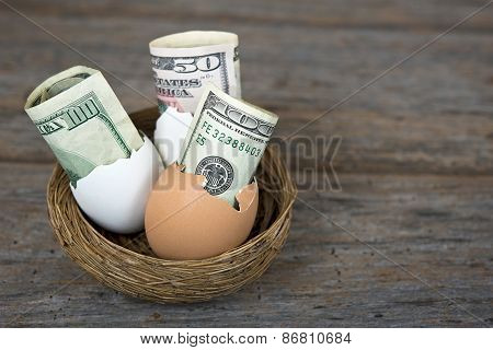 money in egg shells