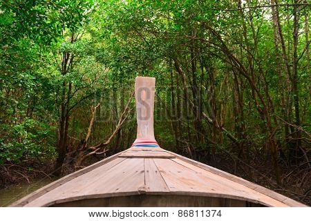 Wooden Boat In Dark Mangroves Forest.