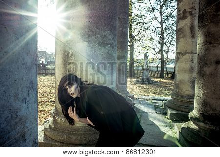 Long Hair Girl With Scary Makeup On The Old Church Background