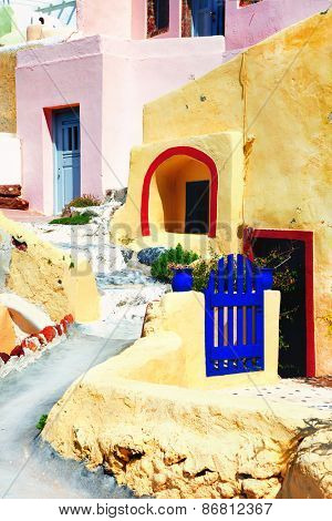 unique Cyclades architecture - old streets of Santorini