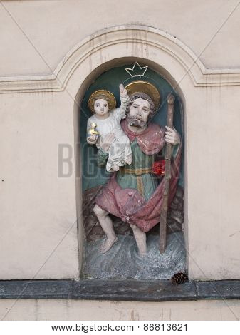 Saint Christopher - Figurine Of Roadside Shrines In Krakow