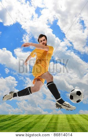 Young soccer player in action outdoors