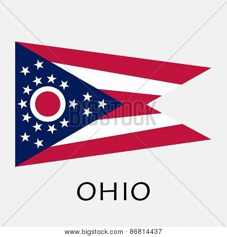 Ohio State Flag Of America, Isolated On White Background.