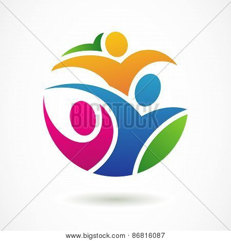 Vector Logo Design Template. Colorful Abstract Happy People In Circle Shape. Concept For Social Netw