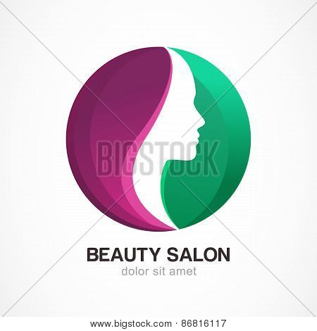 Woman's Face In Circle Shape. Profile Of The Beautiful Girl, Vector Logo Design Template. Abstract D