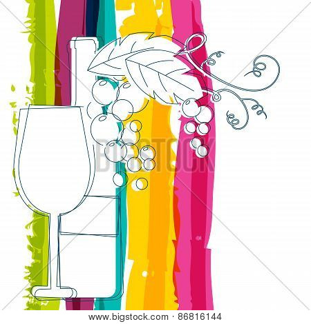 Wine Bottle, Glass, Branch Of Grape With Leaves And Rainbow Stripes Watercolor Background With Place