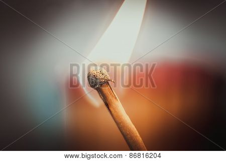 Single Burning Matc On Warm Background