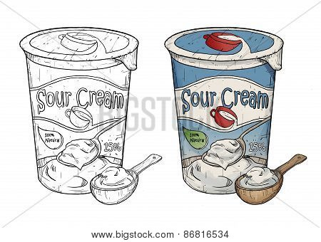 Hand Drawn Line Art Illustration Of Sour Cream With Wooden Spoon. Two Color Variations. Isolated On