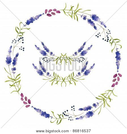 Hand Drawn Set Of Lavender Flowers, Wreaths And Decoration Elements