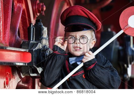 Upset Little Railroad Conductor