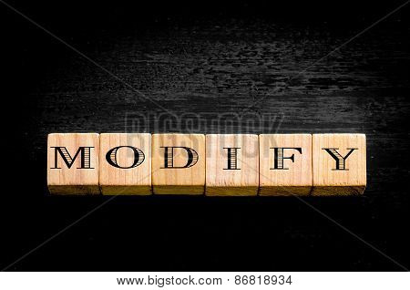 Word Modify Isolated On Black Background