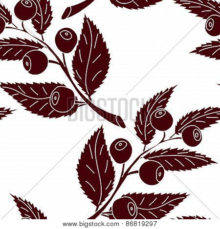 Seamless pattern of silhouette of blueberry branch