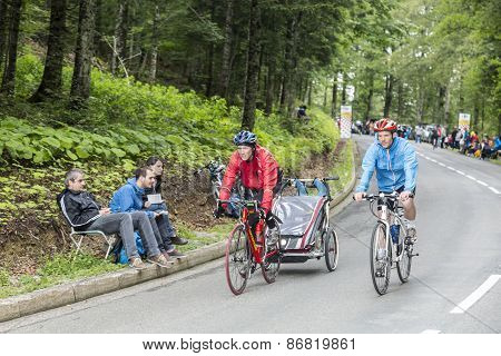 Family On The Road Of Le Tour De France