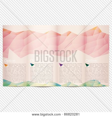 Template light vector design for trifold brochure with pink polygonal grid, place for photos, colorf