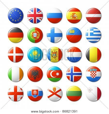 World flags round badges, magnets. Europe. Vector illustration.
