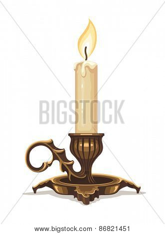 Burning candle in bronze candlestick. Eps10 vector illustration. Isolated on white background