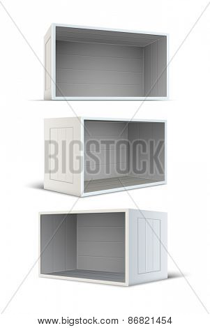Set of white empty wooden boxes. Eps10 vector illustration. Isolated on white background