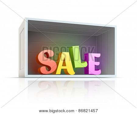 Box with sale text inside. Eps10 vector illustration. Isolated on white background