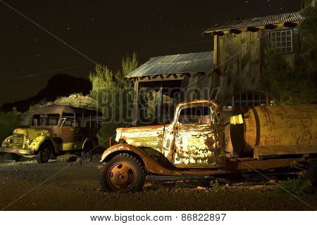 Abandoned Truck And School Bus In Ghost Town
