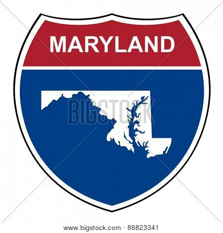 Maryland American interstate highway road shield isolated on a white background.