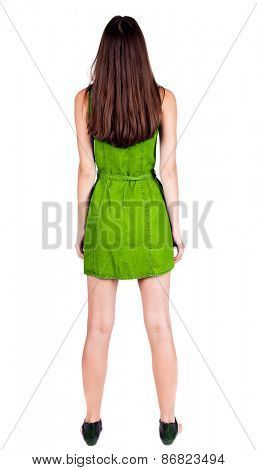 back view of standing young beautiful  woman.  brunette girl in red dress and  kitten heels watching. Rear view people collection.  backside view of person.  Isolated over white background.