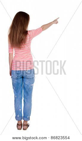 Back view of  pointing woman. beautiful redhaired  girl . girl shows something to someone. Rear view people collection.  backside view of person.  Isolated over white background.