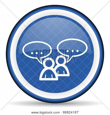 forum blue icon chat symbol bubble sign