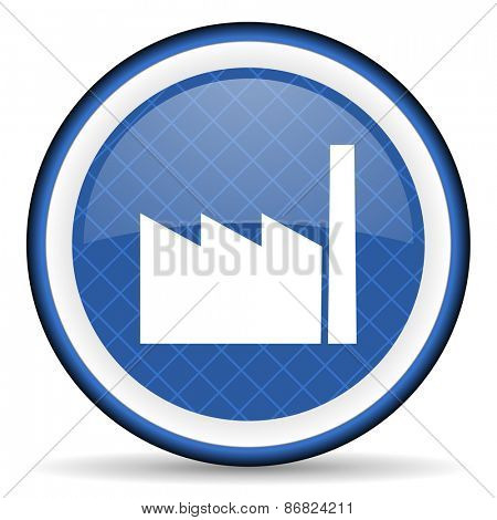 factory blue icon industry sign manufacture symbol