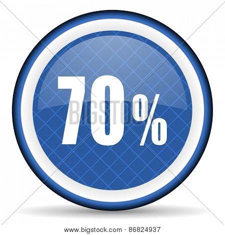 70 percent blue icon sale sign