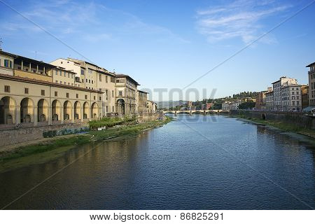Ponte Alle Grazie Bridge In Florence In Italy In Summer