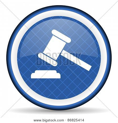 auction blue icon court sign verdict symbol