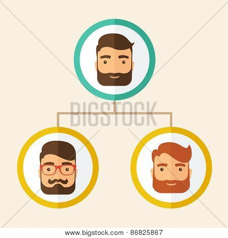 A company chart of three hipster Caucasian employees with beard ranking themselves from higher position down to the next position level, for them to know who will be the leader or the superior