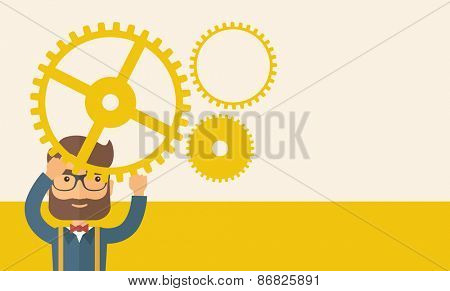 Hipster Caucasian businessman with beard wearing glasses standing holding up gear planning to go into technology business. Planning concept. A contemporary style with pastel palette, beige tinted