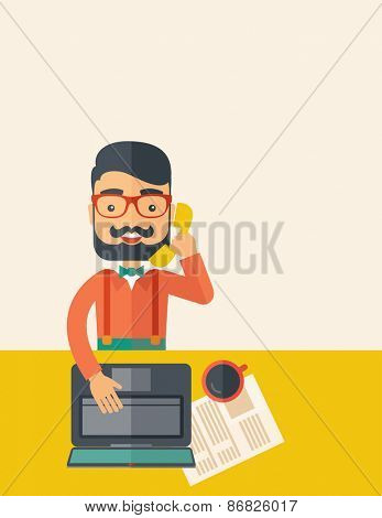 Hipster Caucasian online customer service operator with beard smiling while talking to his customer inside his office. Business communication concept. A contemporary style with pastel palette, beige