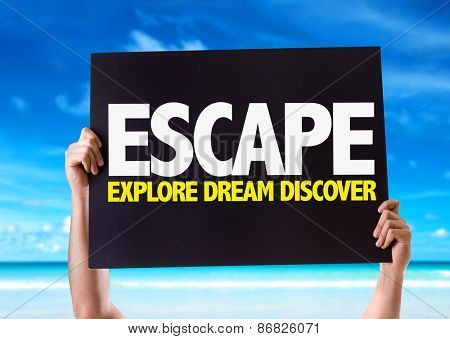 Escape Explore Dream Discover card with beach background