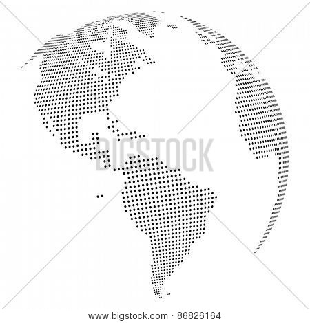 Abstract dotted globe, Central heating views over North and South America