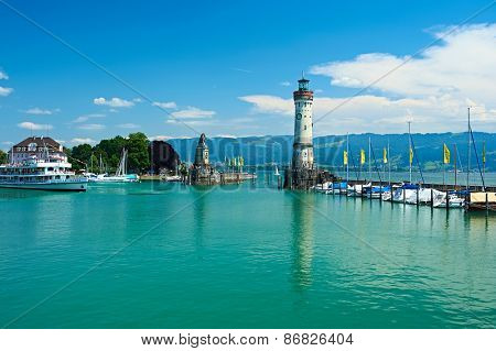 LINDAU, GERMANY - JUNE 11: Lighthouse at port of Lindau harbour, Lake Constance, Bavaria, June 11 2014 in Lindau, Germany