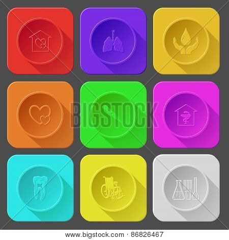 orphanage, lungs, protection blood, careful heart, thermometer, pharmacy, tooth, invalid chair, chemical test tubes. Color set raster icons.