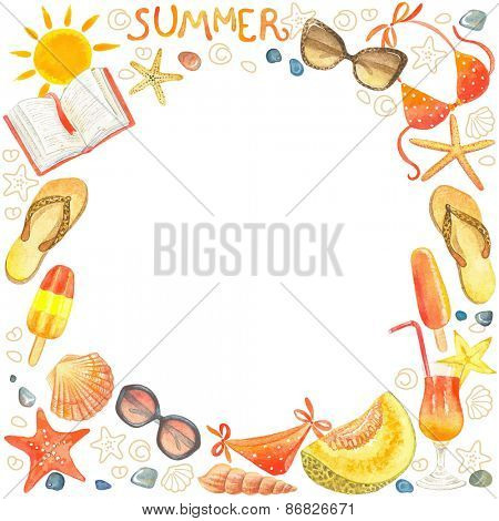 Frame of watercolor colorful symbols summer beach.