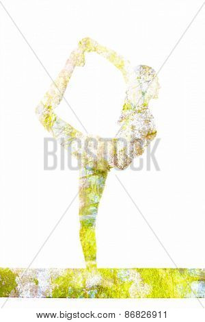 Nature harmony healthy lifestyle concept - double exposure image of  woman doing yoga asana Lord of the Dance Pose (Natarajasana) asana in ashtanga vinyasa style exercise isolated on white background