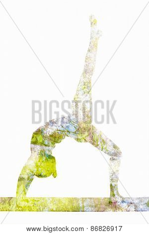 Nature harmony healthy lifestyle concept - double exposure image of  woman doing yoga asana One-legged Upward Bow Pose (ekapada urdhva dhanurasana) asana exercise isolated on white background