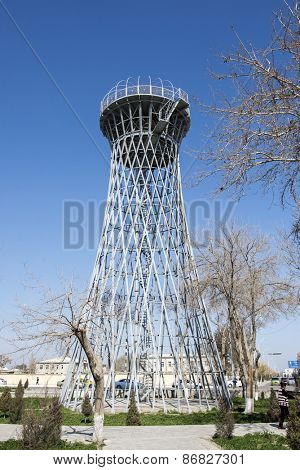 BUKHARA, UZBEKISTAN - MARCH 14, 2015: Old water tower. Built by the famous architect Vladimir Shukhov