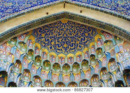 BUKHARA, UZBEKISTAN - MARCH 14, 2015: Dome of an ancient mosque. Fragment.