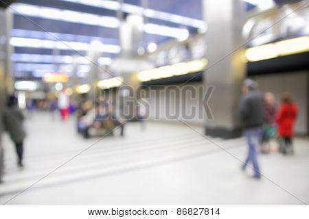 Background of metro station out of focus